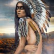 Stock Photo: Young womin costume of AmericIndian