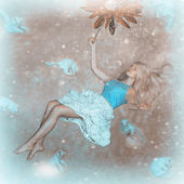 Girl in weightlessness — Stock Photo