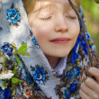 Girl in traditional russian clothes — Stock Photo #46131453