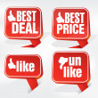 Best Deal Best Price and Like Tags — Stock Photo