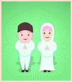 Happy Ied Mubarrak - Muslim Couple — Stock Vector