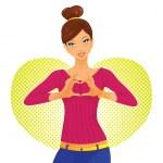 Cute girl and heart symbol — Stock Vector