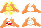 Collection of hands showing heart symbol — Stock Vector