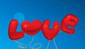 Amo la forma de texto y corazón de globos — Vector de stock