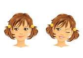 Cute girl with two ponytails winking and smiling — Stock Vector