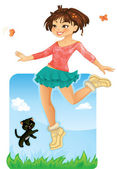 Happy Girl Jumping — Vector de stock