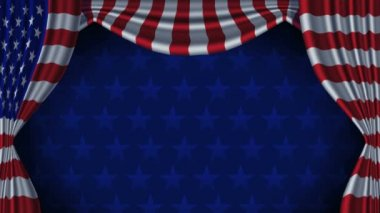 USA Flag Curtain Background Animation Loop With Alpha — Stock Video