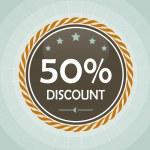 Vintage 50 percent discount label — Stock Vector