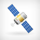 Isolated communication satellite icon with solar cells — Stock Vector
