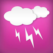 Paper white lightning clouds width on pink — Stock Vector