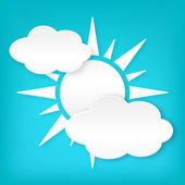 Paper white sun width clouds on blue — Stock Vector