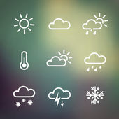 Weather Icons on blured background — Stock Vector