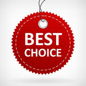 Red leather best choice label — Stok Vektör