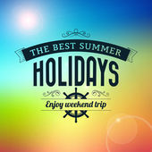 Summer holidays enjoy weekend trip typography poster — Stock Vector