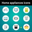 Shopping home appliances flat icon set  — Stock Vector