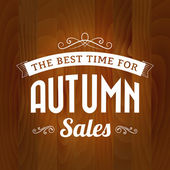 Autumn sale vintage vector on wood background — Stock Vector