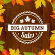 Stock Vector: Big autumn sales vintage poster on wood background width leafs