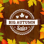 Big autumn sales vintage poster on wood background width leafs — Stock Vector