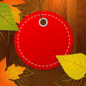 Autumn blank vector label on wood background — 图库矢量图片