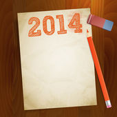 Vintage paper width 2014 new year — Stock Vector