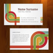 Modern color business card template on wood background — Stock Vector