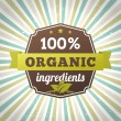 100 percent organic ingredients eco label poster — Stock Vector