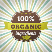 100 percent organic ingredients eco label poster — Stockvektor