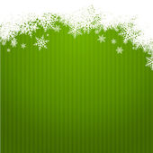 Green christmas background width snowlakes — Stock Vector
