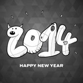 Happy new year 2014 hand drawing card poster — Stock vektor
