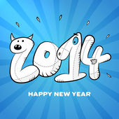 Happy new year 2014 hand drawing card poster — Stockvektor