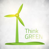 Ecology Think green wind power — Stock Vector