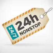Realistic paper 24h nonstop labels — Stock Vector