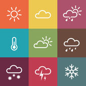 Weather Icons on vintage colorful tiles background — Stock Vector