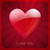 Eu te amo coração vetor cartão design — Vetor de Stock