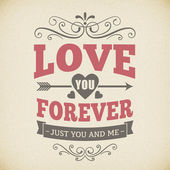 Wedding typography love you forever vintage card background design — Stock Vector