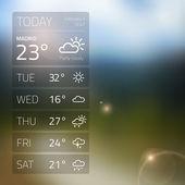 Weather widget template on blured background — Stock Vector