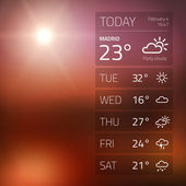 Weather widget template on sunset background — Stock Vector