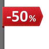 Red leather price bookmark 50 percent sale off — Vetorial Stock