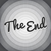 The end typography BW old movie screen — Stock Vector