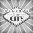 Stock Vector: Welcome to our city vintage background poster