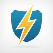 Lightning and shield symbol protect logo template — Stock Vector