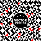 Vector seamless background pattern, white black red triangle. — Stock Vector