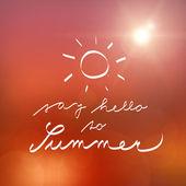 Hand witten say hello to summer vector poster — Stock Vector
