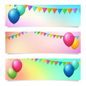 Set of birthday summer blurred vector banner background — Vector de stock