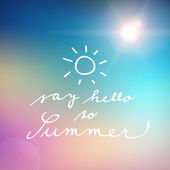 Handwritten say hello to summer vector poster — Stock Vector