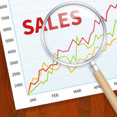 Positive business sales chart — Stock Vector