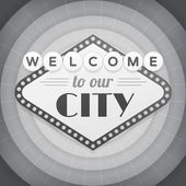 Welcome to our city vintage vector bw poster. — Stock Vector