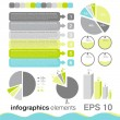 Set of elements of infographics made in blue, green and gray — Stock Vector