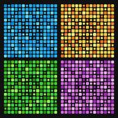 Antecedentes de los cuadrados de colores azules, púrpuras, amarillos y verde — Vector de stock