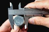 Calibrating an steel bolt — Stock Photo